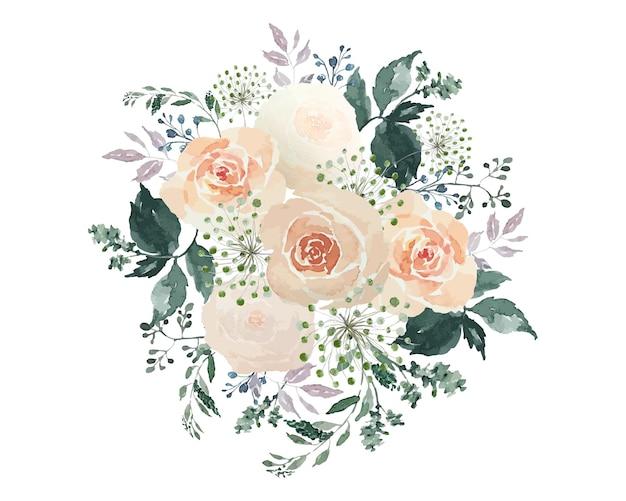 Pomarańczowy kwiat róż z zielonymi liśćmi bukiet akwarela ręcznie rysować dekoracji