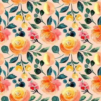 Pomarańczowy kwiatowy wzór z akwarelą