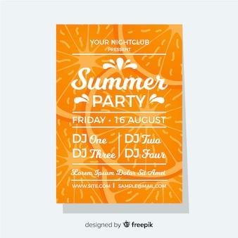 Pomarańczowy letni festiwal plakat płaski styl