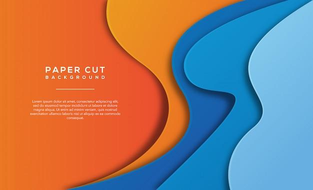 Pomarańczowy niebieski streszczenie papieru wyciąć tło