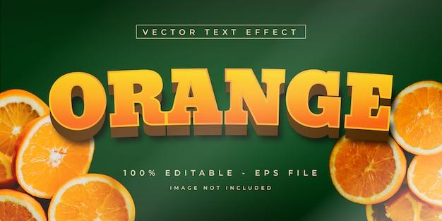 Pomarańczowy owoc 3d styl efektu tekstowego