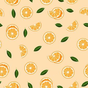 Pomarańczowy owoc bezszwowy wzór dla lata