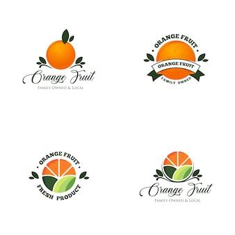 Pomarańczowy owoc logo wektor zestaw