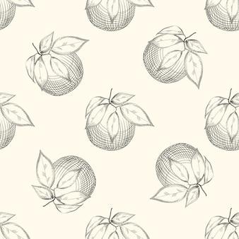 Pomarańczowy owoc szkic bezszwowe tupot