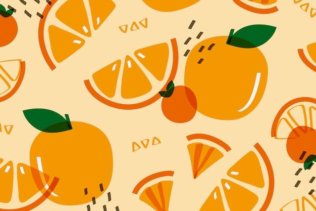 Pomarańczowy owoc w stylu memphis