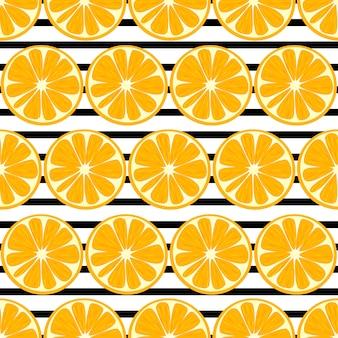 Pomarańczowy owocowy bezszwowy deseniowy tło.