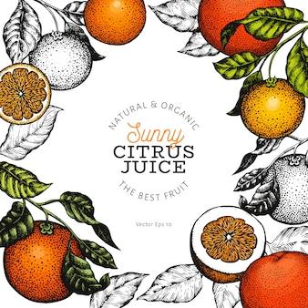 Pomarańczowy owocowy projekta szablon