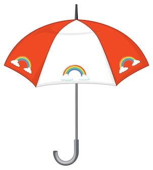 Pomarańczowy parasol w paski z tęczowym wzorem