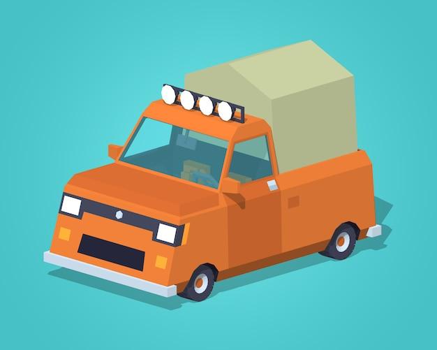 Pomarańczowy pick-up z namiotem