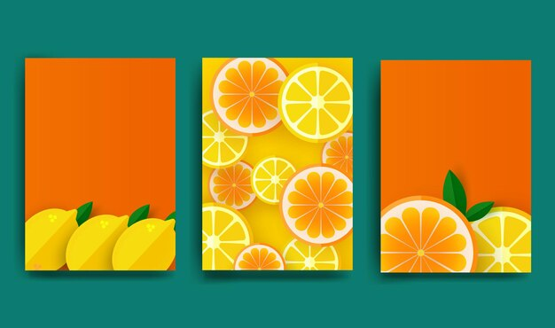 Pomarańczowy plakat. plastry pomarańczy i cytryny z liśćmi.