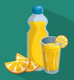 Pomarańczowy plastry butelkę i szklankę soku