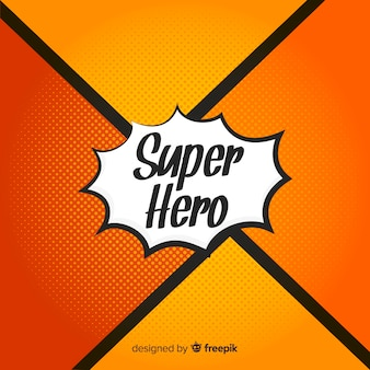 Pomarańczowy półtonów superbohatera tło
