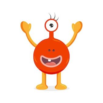 Pomarańczowy potwór z jednym okiem słodka postać z kreskówki ilustracja wektorowa dla dzieci