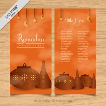 Pomarańczowy ramadan broszura z obiektami