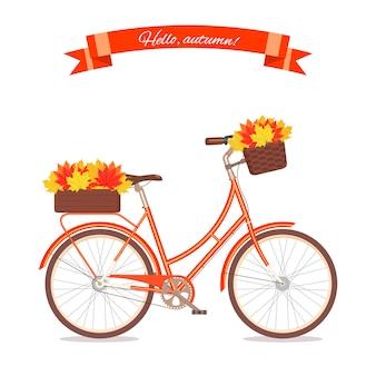 Pomarańczowy retro bicykl z jesień liśćmi w kwiecistym koszu i pudełku na bagażniku. rower kolor na białym tle. płaska wektorowa ilustracja. cykl z liśćmi na baner gratulacyjny, zapraszam, karta.