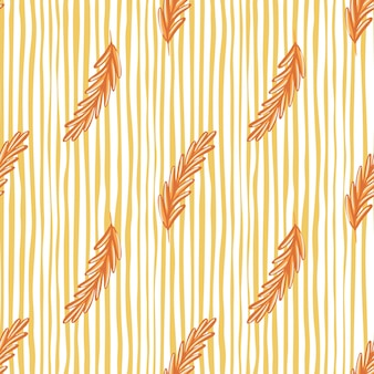 Pomarańczowy rozmaryn sylwetki wzór w prostym stylu botaniki. tło białe i żółte paski. idealny do projektowania tkanin, nadruków na tekstyliach, zawijania, okładek. ilustracja wektorowa.