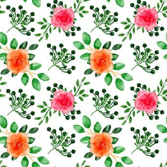 Pomarańczowy różowy kwiatowy akwarela bezszwowe wzór