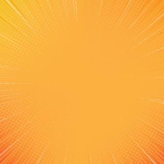 Pomarańczowy słońce komiks stylu tło z półtonów