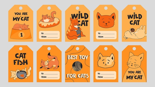 Pomarańczowy specjalny szablon tagu z uroczymi kociętami.