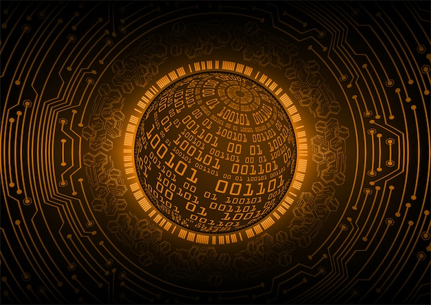 Pomarańczowy świat cyber obwodu przyszłości technologii tło
