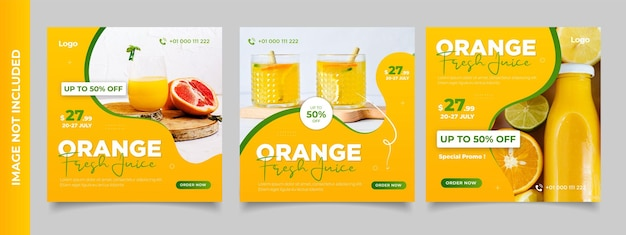 Pomarańczowy szablon promocji menu świeżego napoju w mediach społecznościowych