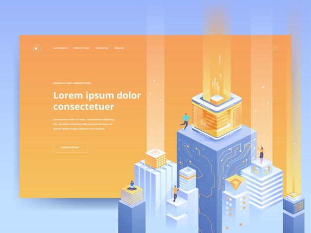 Pomarańczowy szablon strony docelowej inteligentnej architektury. cyfrowa strona główna strony internetowej miasta pomysł interfejsu użytkownika z ilustracji wektorowych izometryczny. futurystyczna technologia, wirtualna baza danych baner internetowy w jasnym kolorze koncepcja 3d