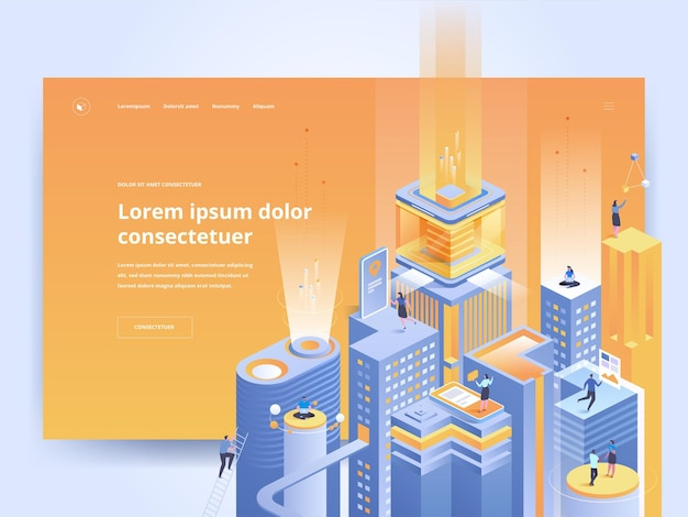 Pomarańczowy szablon strony docelowej technologii inteligentnej. interfejs użytkownika strony głównej platformy rozwoju biznesu z izometrycznymi ilustracjami wektorowymi. futurystyczne miasto, baner internetowy w cyberprzestrzeni jasny kolor koncepcja 3d