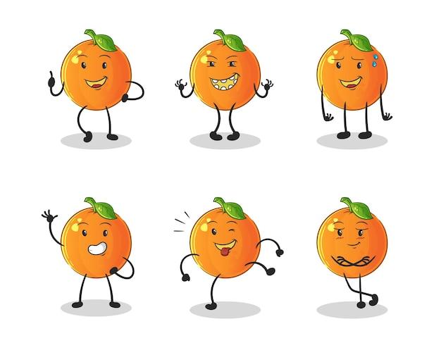 Pomarańczowy szczęśliwy zestaw znaków. kreskówka maskotka