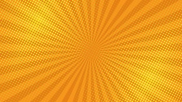 Pomarańczowy tło strony komiksu w stylu pop-art z pustej przestrzeni. szablon z promieniami, kropkami i teksturą efekt półtonów. ilustracja wektorowa