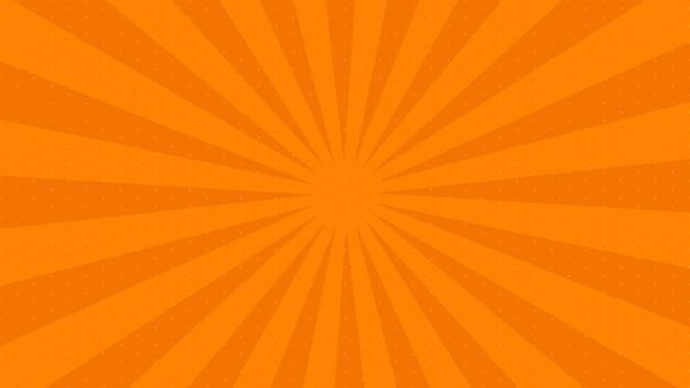 Pomarańczowy tło strony komiksu w stylu pop-art z pustej przestrzeni. szablon z promieniami, kropkami i teksturą efektu półtonów. ilustracja wektorowa