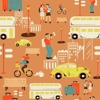 Pomarańczowy wektor wzór wycieczki po mieście z turystą