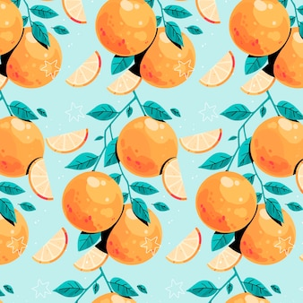 Pomarańczowy wzór na niebieskim tle