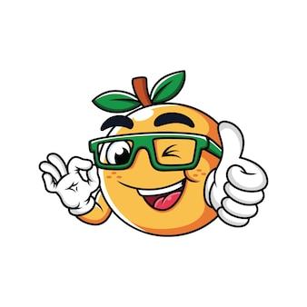 Pomarańczowy z kciuki do góry kreskówka