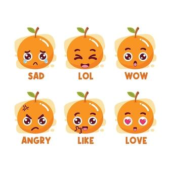 Pomarańczowy zestaw emotikonów mediów społecznościowych