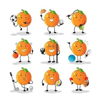 Pomarańczowy zestaw postaci sportowych. kreskówka maskotka