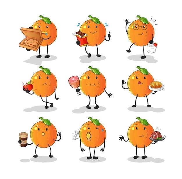 Pomarańczowy zestaw znaków żywności. kreskówka maskotka