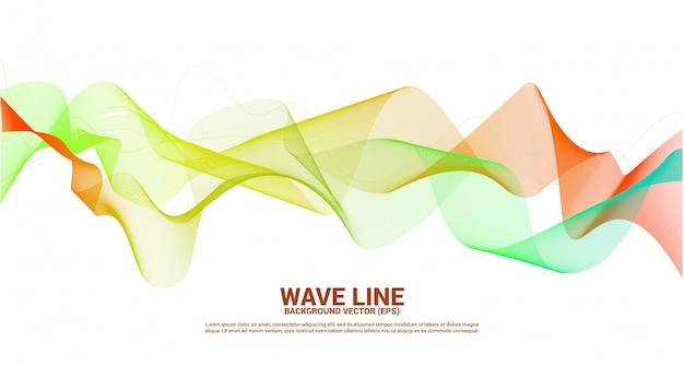 Pomarańczowy zielony fali dźwiękowej krzywej linii na ciemnym tle. element dla tematu technologii futurystycznego wektoru