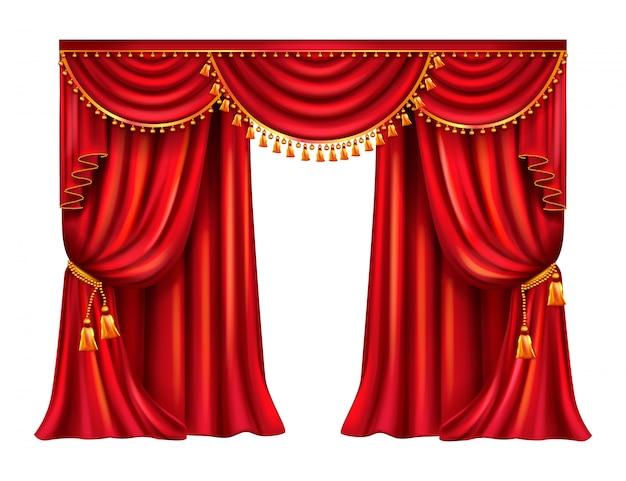Pomarszczona czerwona zasłona z lambrekinem ozdobionym złotymi frędzlami