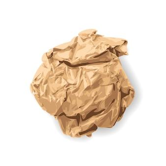 Pomarszczony papier pakowy teksturowane ball na białym tle. naturalny brązowy papier vintage widok z góry