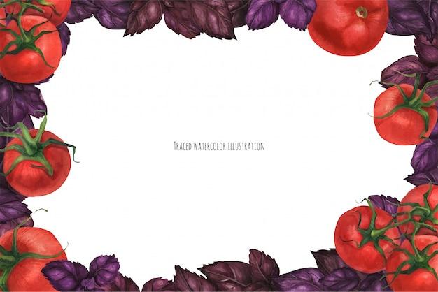 Pomidor i basil krajobraz ramki