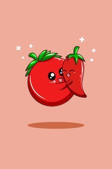 Pomidor i chili w ilustracja kreskówka dzień wegetariański