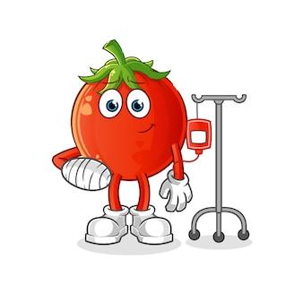 Pomidor maskotka chory w ilustracji