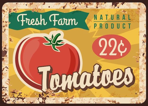 Pomidor na metalowym talerzu, plakat warzywa