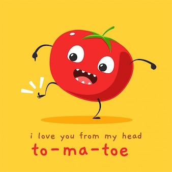 Pomidor pokazujący palec u nogi. ilustracja wektorowa