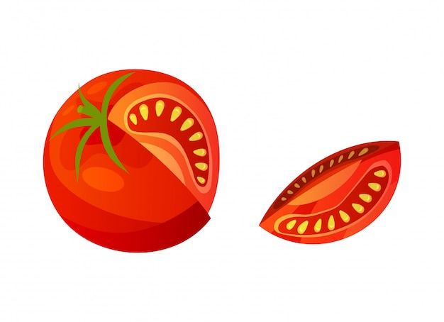 Pomidor. posiekany pomidor na białym tle. wektor świeży czerwony pomidor