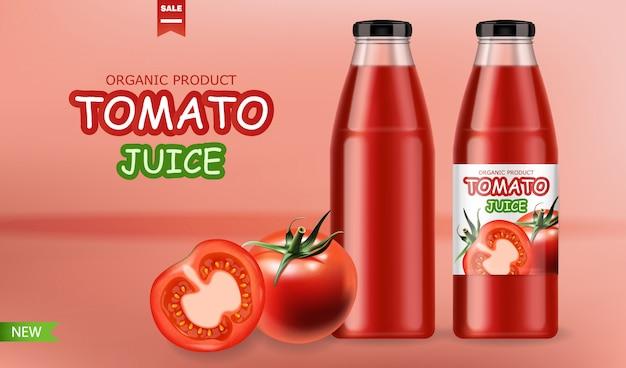 Pomidory na białym tle realistyczne i pakować butelkę soku, świeży produkt, wegetariańskie jedzenie, różowe tło
