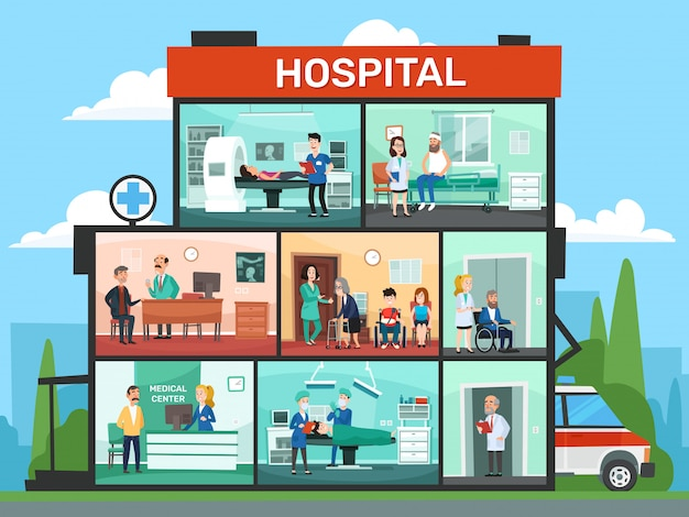 Pomieszczenia medyczne szpitalny budynku wnętrze, przeciwawaryjna kliniki lekarki poczekalnia i operacja lekarek kreskówki ilustracja
