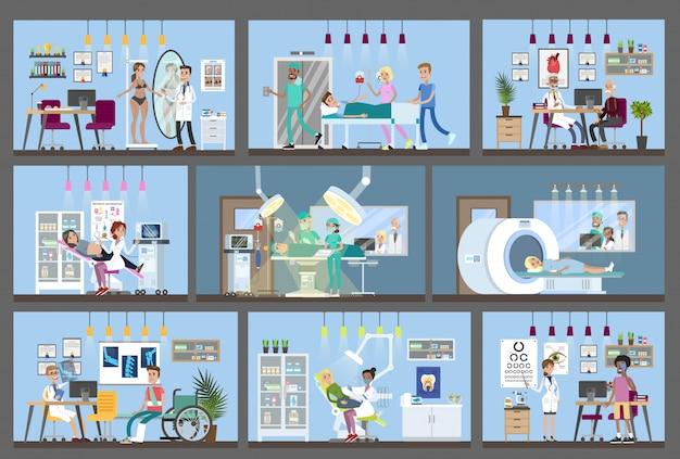 Pomieszczenia wewnętrzne budynku szpitala z lekarzami i pacjentami.