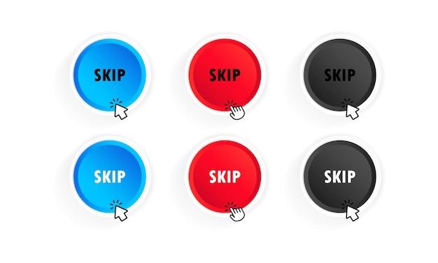 Pomiń zestaw przycisków reklamy. wektor na na białym tle. eps 10.