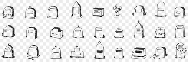 Pomnik na grobie doodle zestaw ilustracji